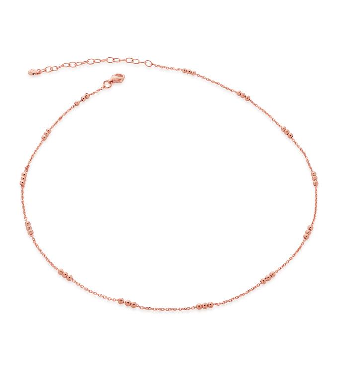Rose Gold Vermeil Triple Beaded Choker Necklace 14-16