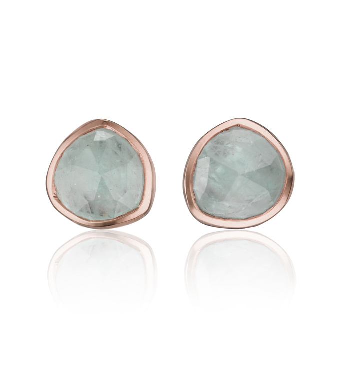 Rose Gold Vermeil Siren Stud Earring - Aquamarine