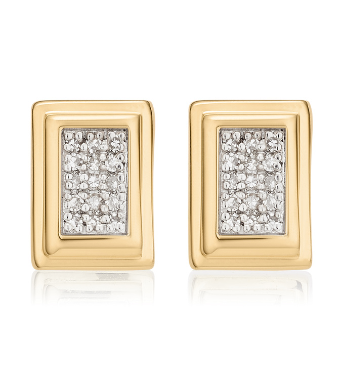 Gold Vermeil Baja Deco Stud Diamond Earrings - Diamond - Monica Vinader