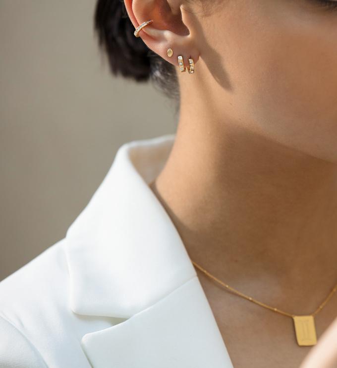 Gold Vermeil Fiji Gem Diamond Huggie Earrings - Diamond - Monica Vinader