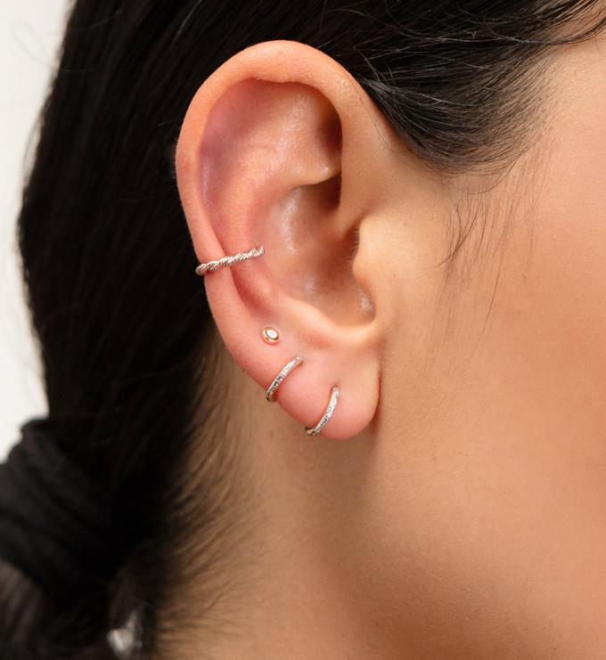 Gold Vermeil Riva Mini Diamond Huggie Earrings - Diamond - Monica Vinader