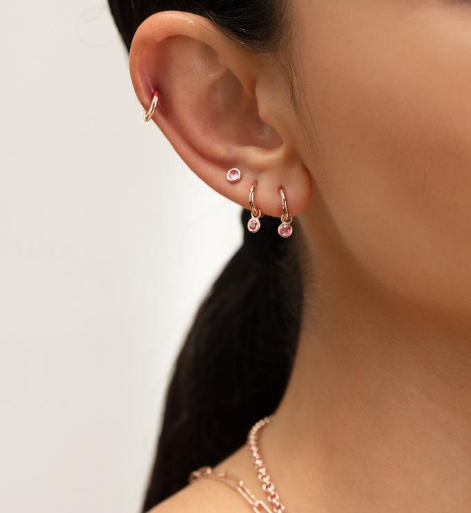 Rose Gold Vermeil Mini Gem Stud Earrings - Pink Tourmaline - Monica Vinader