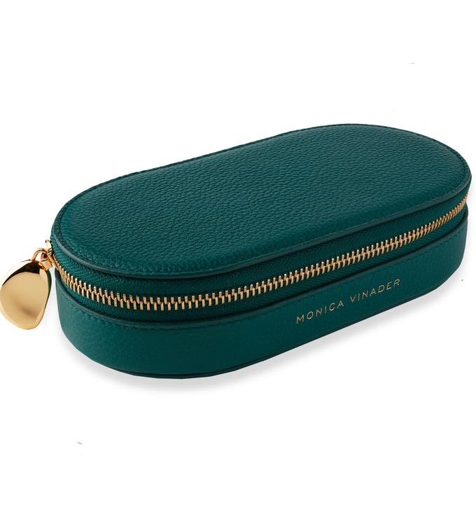 Leather Leather Oval Trinket Box - Avocado - Monica Vinader