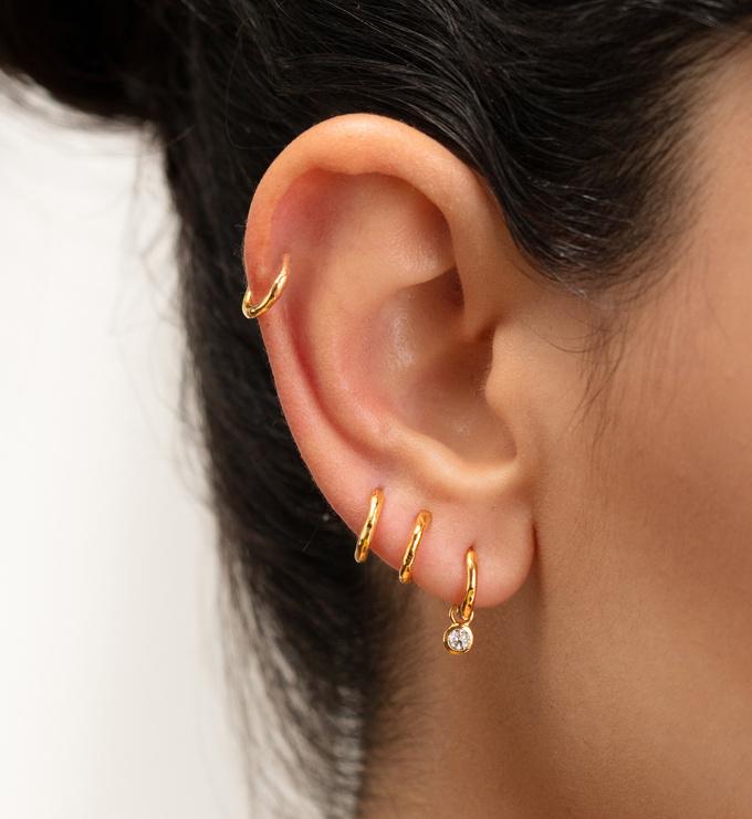 Sterling Silver Ziggy Huggie Earrings - Monica Vinader