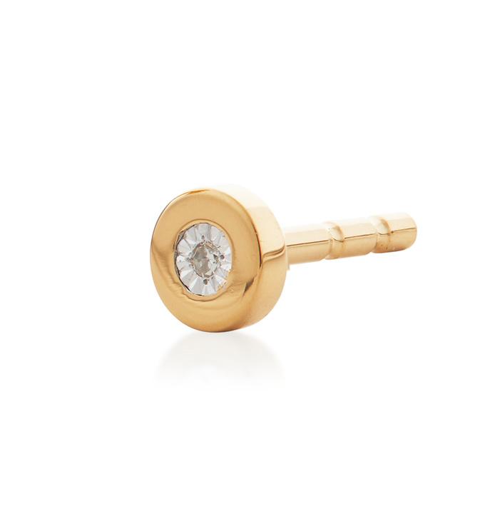 Gold Vermeil Linear Diamond Single Stud Earring - Diamond - Monica Vinader