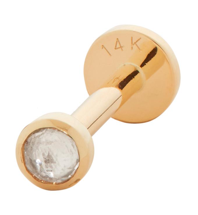 Gold Mini Gem Single Labret Earring - Rock Crystal - Monica Vinader