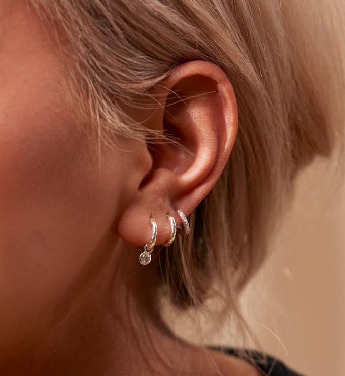Gold Vermeil Mini Gem Huggie Earrings - White Topaz - Monica Vinader