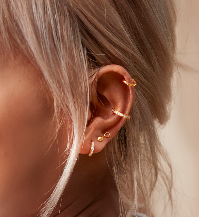 Sterling Silver Nura Mini Nugget Stud Earrings - Monica Vinader