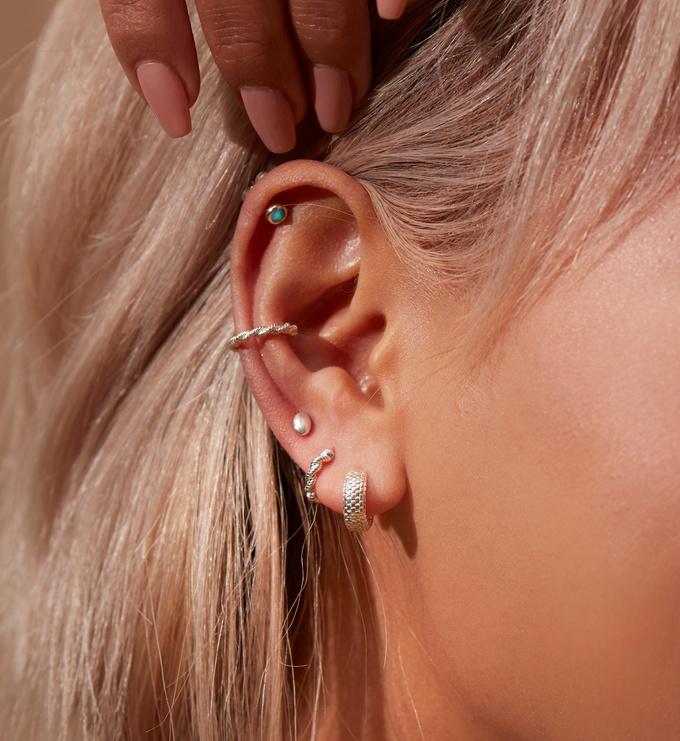 Sterling Silver Mini Gem Stud Earrings - Turquoise - Monica Vinader