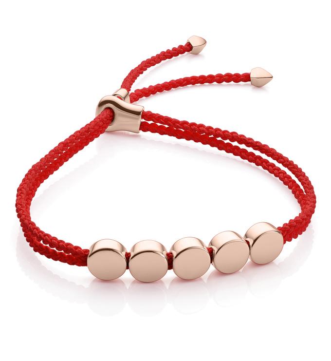 Rose Gold Vermeil Linear Bead Friendship Bracelet - Coral - Monica Vinader