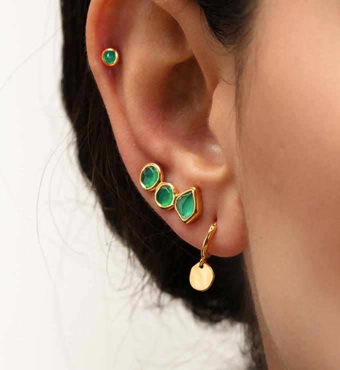 Gold Vermeil Siren Muse Mini Drop Huggie Earrings - Monica Vinader