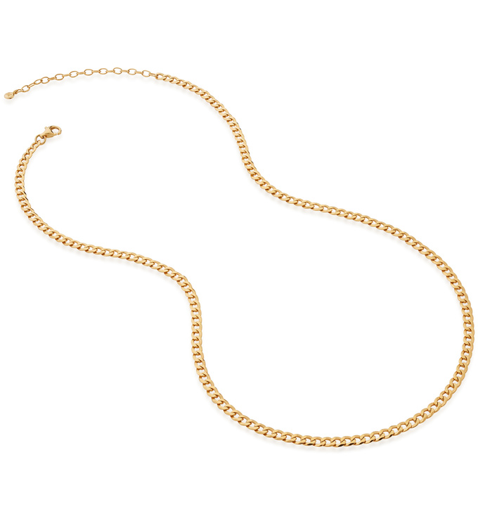 Gold Vermeil Flat Curb Chain Necklace - Monica Vinader