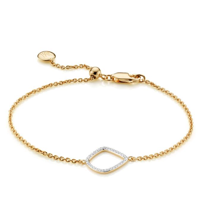 Gold Vermeil Riva Diamond Kite Chain Bracelet - Diamond - Monica Vinader