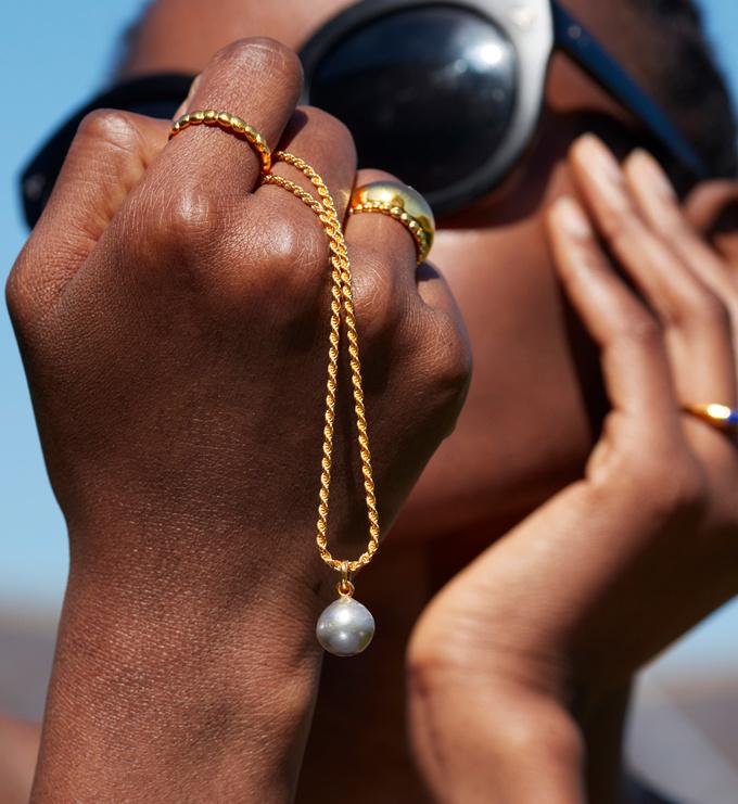 Rose Gold Vermeil Nura Grey Baroque Pearl Pendant Charm - Pearl - Monica Vinader