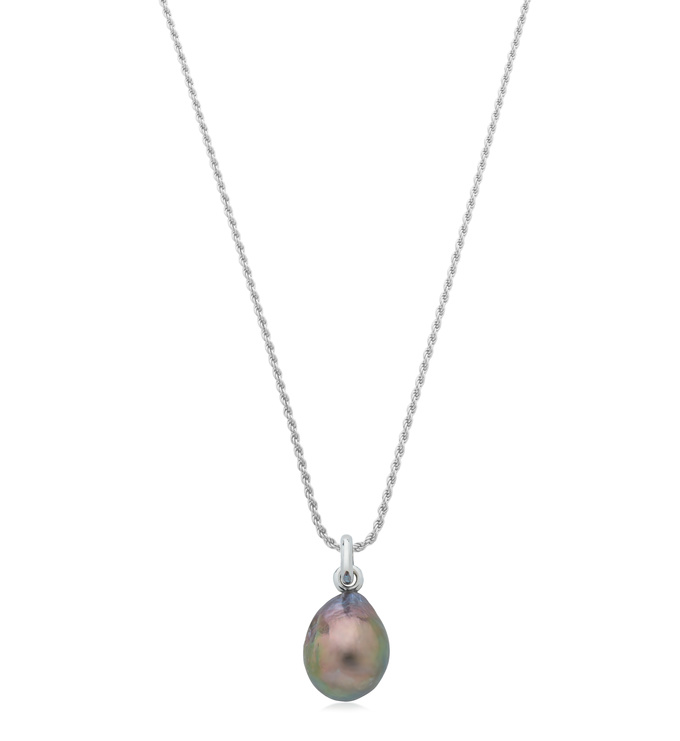 Rope Chain and Grey Pearl Necklace Set - Monica Vinader