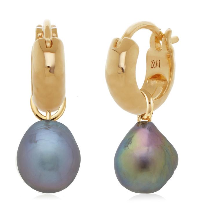 Siren Huggie and Grey Pearl Earring Set - Monica Vinader