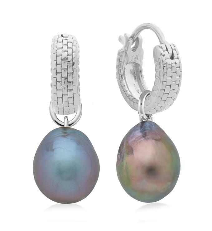 Doina Huggie and Grey Pearl Earring Set - Monica Vinader