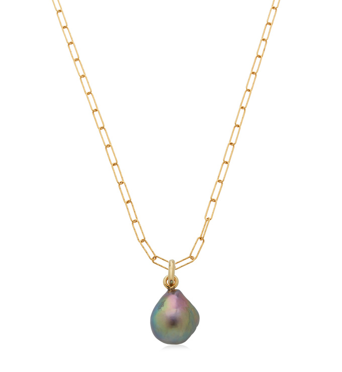 Alta Textured Chain and Grey Pearl Set - Monica Vinader