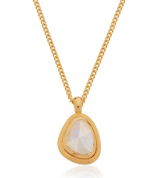 Gold Vermeil Amulet Necklace - Moonstone - Monica Vinader