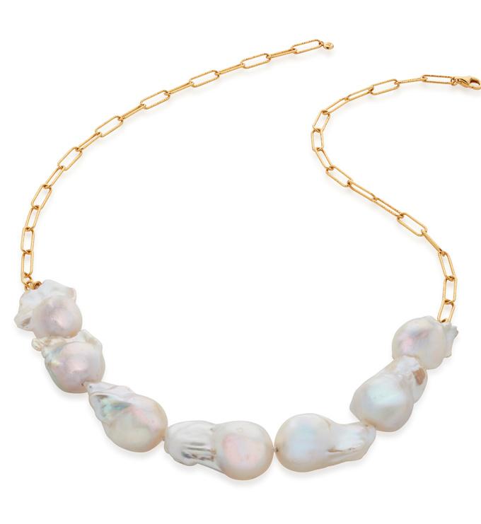 Gold Vermeil Baroque Pearl Necklace - Pearl - Monica Vinader
