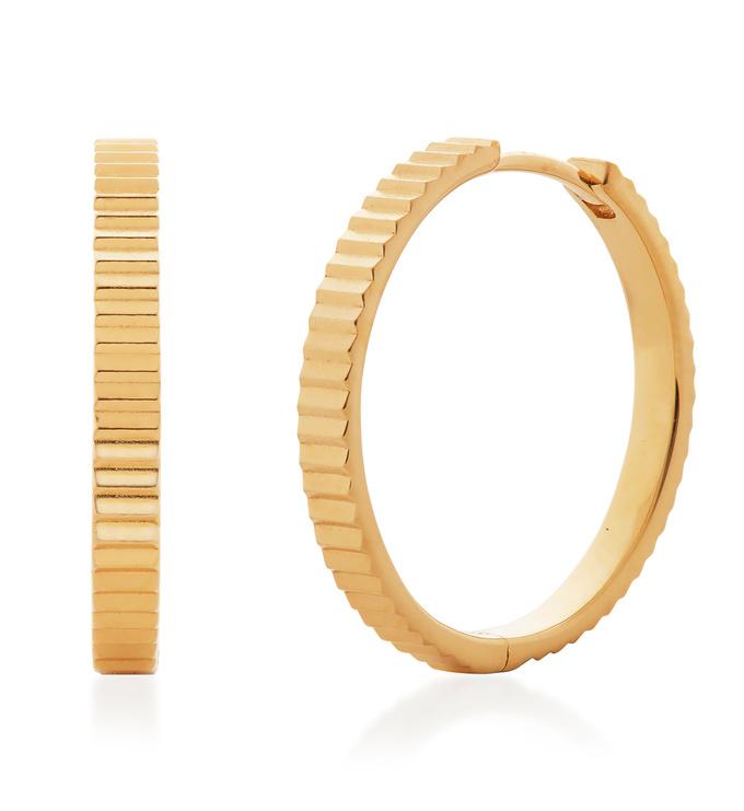 Gold Vermeil Disco Small Hoop Earrings - Monica Vinader