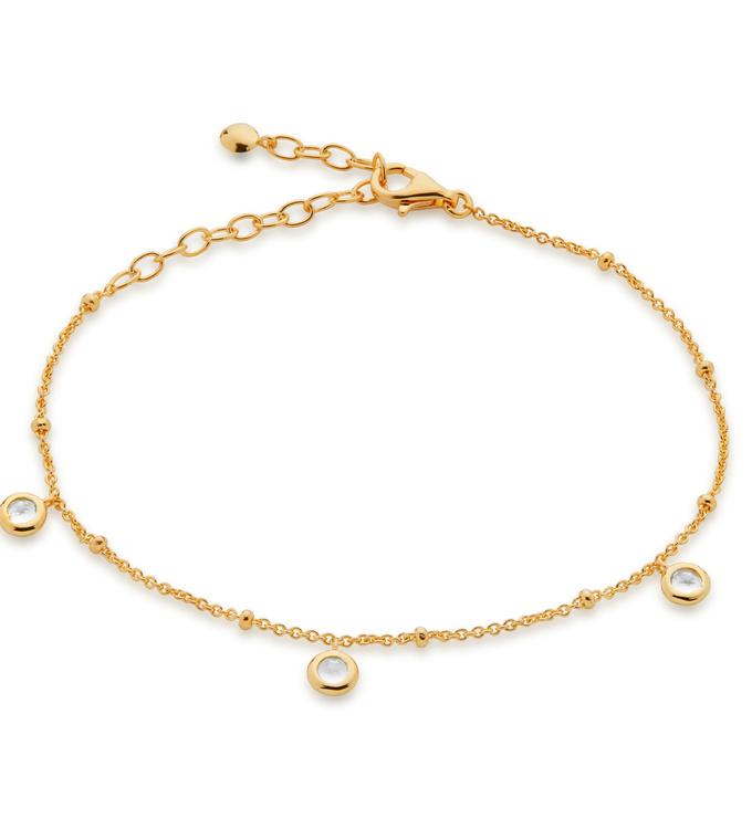 Gold Vermeil Mini Gem Bracelet - White Topaz - Monica Vinader
