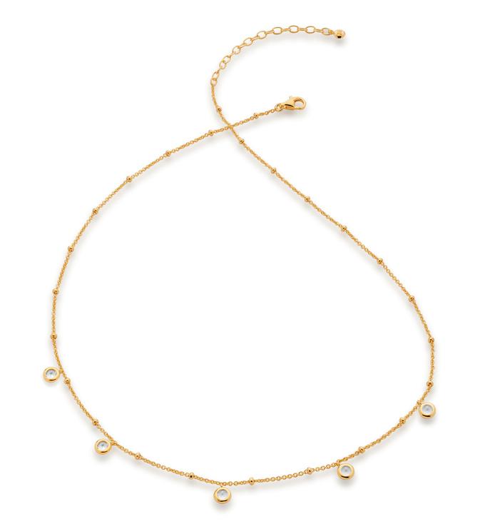 Gold Vermeil Mini Gem Necklace - White Topaz - Monica Vinader
