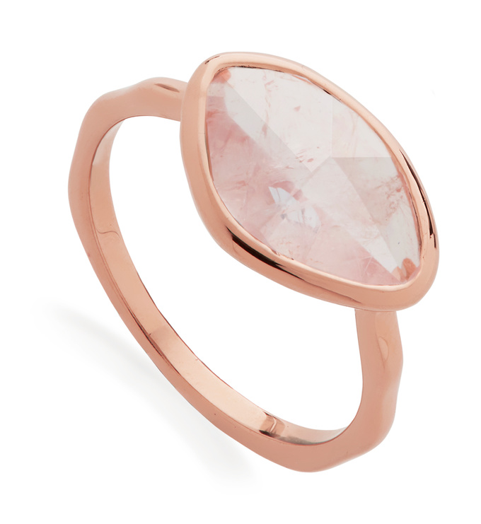 Rose Gold Vermeil Petal Ring - Rose Quartz - Monica Vinader