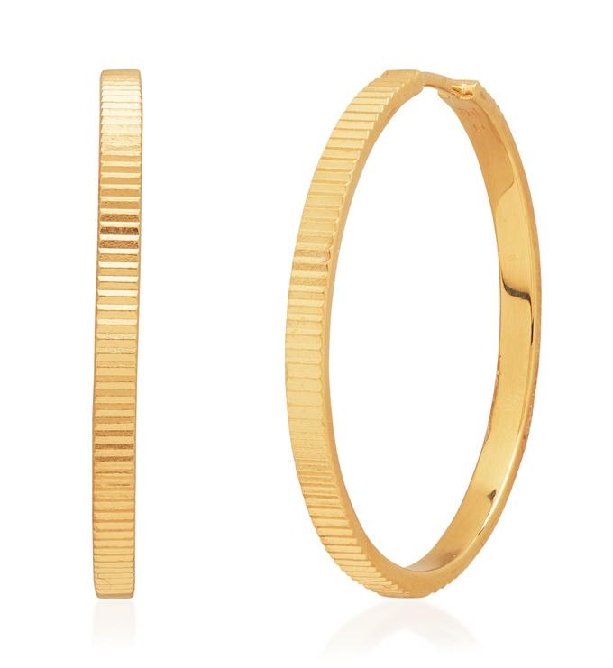 Gold Vermeil Disco Large Hoop Earrings - Monica Vinader
