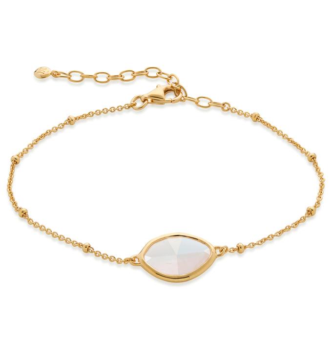 Gold Vermeil Petal Bracelet - Moonstone - Monica Vinader