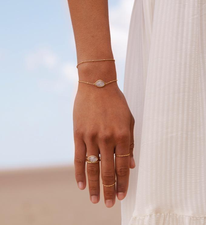 Rose Gold Vermeil Petal Bracelet - Rose Quartz - Monica Vinader