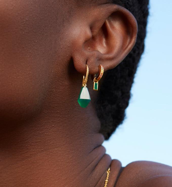 Gold Vermeil Doina Gemstone Wire Earrings - Green Onyx - Monica Vinader
