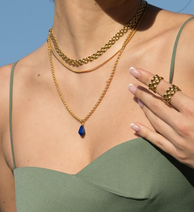 Gold Vermeil Doina Gemstone Pendant Charm - Lapis - Monica Vinader