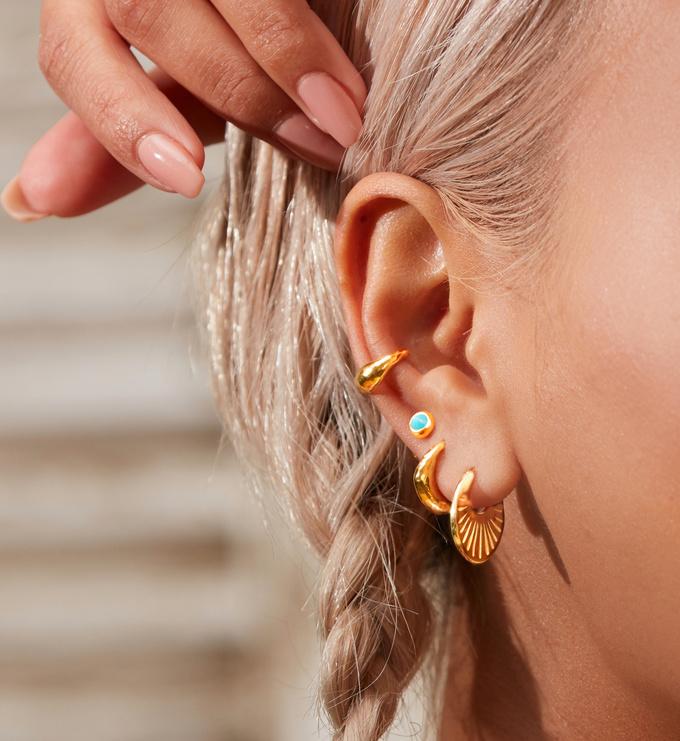 Gold Vermeil Mini Gem Stud Earrings - Turquoise - Monica Vinader