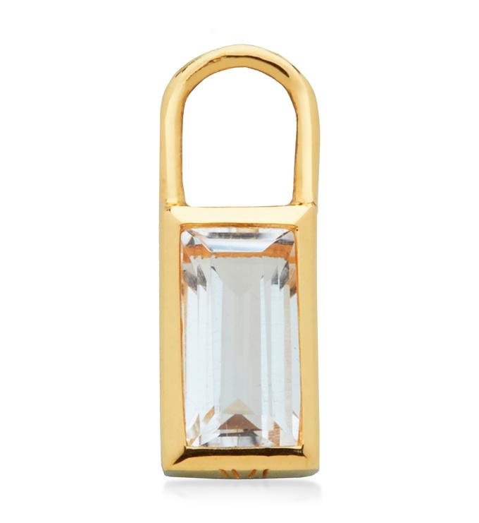 Gold Vermeil Baguette Ear Charm  - Rock Crystal - Monica Vinader