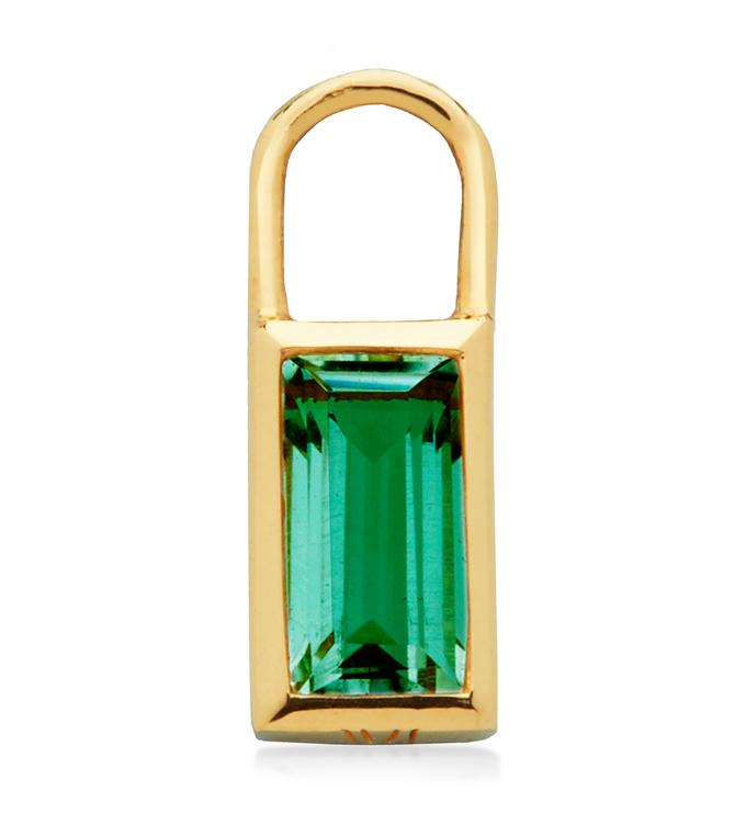 Gold Vermeil Baguette Ear Charm  - Green Onyx - Monica Vinader