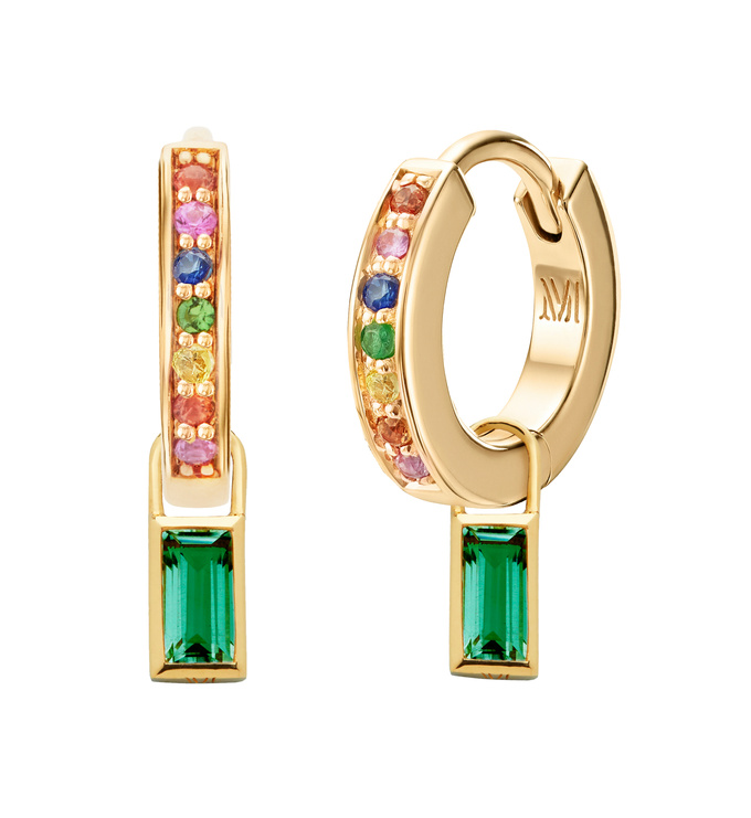 Sapphire Huggie Earrings and Green Onyx Baguette Ear Charm Set - Monica Vinader