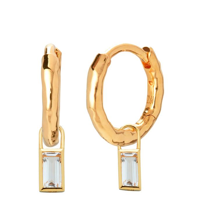 Ziggy Huggie Earrings and Rock Crystal Baguette Ear Charm Set - Monica Vinader