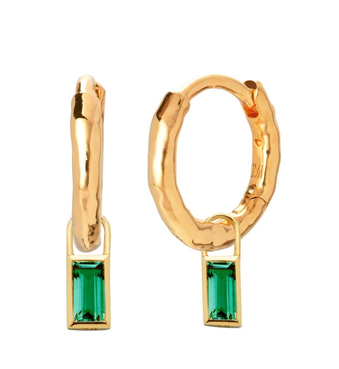 Ziggy Huggies and Green Onyx Baguette Ear Charm Set - Monica Vinader