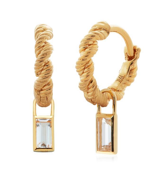 Gold Vermeil Corda Huggie and White Topaz Baguette Ear Charm Set - Monica Vinader