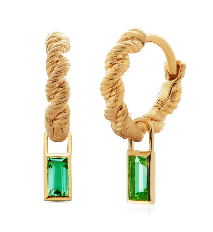 Gold Vermeil Corda Huggie and Green Onyx Baguette Ear Charm Set - Monica Vinader