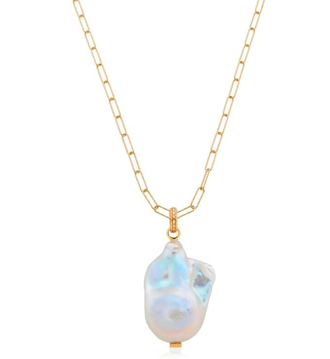 Doina Baroque Pearl and Alta Textured Necklace Set - Monica Vinader