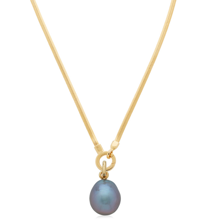 Nura Grey Baroque Pearl and Snake Chain Necklace Set - Monica Vinader