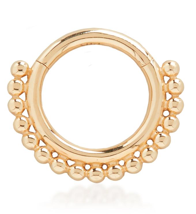 Gold Solid Gold Deia Beaded Infinity Hoop 8mm - Monica Vinader
