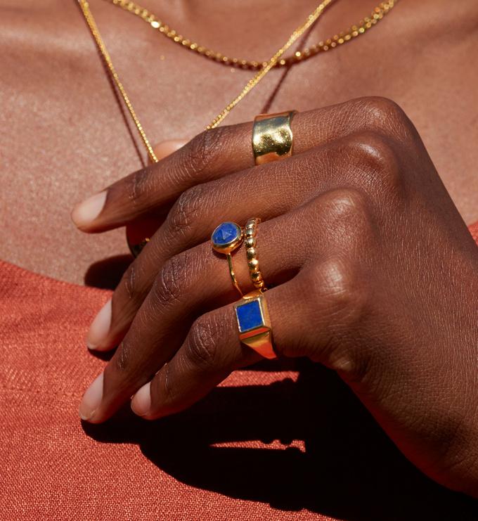 Gold Vermeil Signature Signet Gemstone Ring - Lapis - Monica Vinader