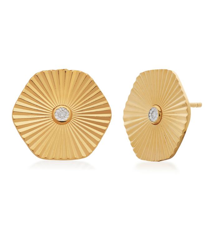 Gold Vermeil Disco Diamond Stud Earrings - Monica Vinader
