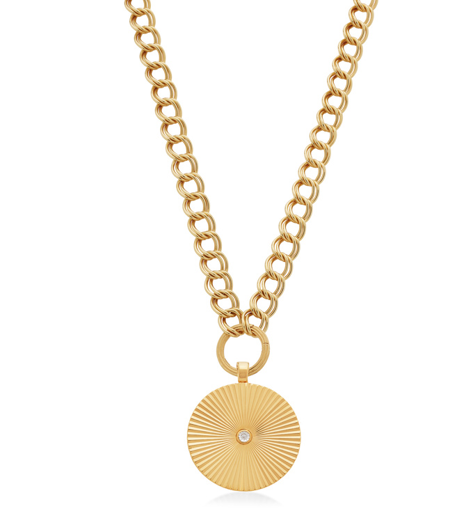 Groove Curb and Disco Round Pendant Necklace Set - Monica Vinader