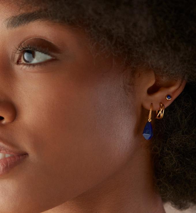 Rose Gold Vermeil Nura Reef Crossover Huggie Earrings - Monica Vinader