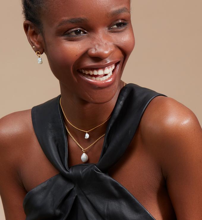Gold Vermeil Nura Keshi Pearl Drop Earrings - Pearl - Monica Vinader