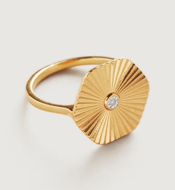 Gold Vermeil Disco Diamond Ring - Diamond - Monica Vinader